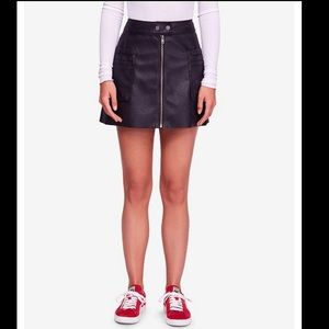 Free People Faux Leather High Waisted A-Line Skirt